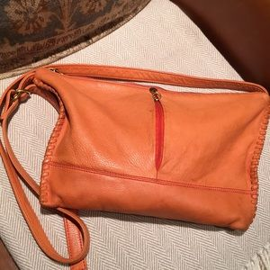 Hobo crossbody leather orange  handbag